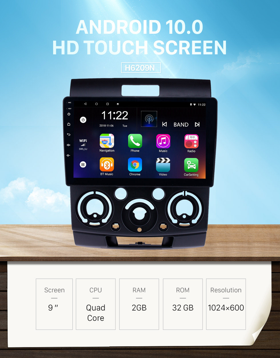 Seicane HD Touchscreen 9 inch Android 10.0 GPS Navigation Radio for 2006-2010 Mazda BT-50 with Bluetooth AUX Music support DVR Carplay OBD Rearview camera