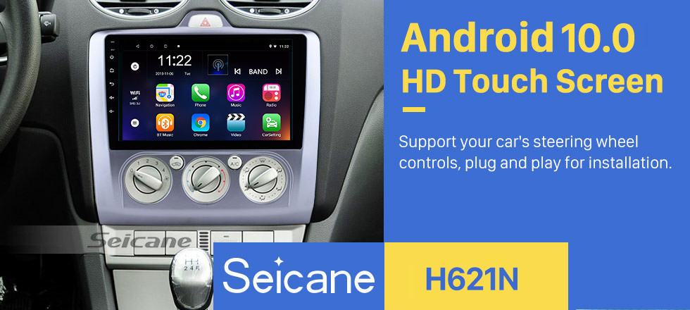 Seicane 9 inch Android 10.0 for 2004 2005 2006-2011 Ford Focus Exi MT 2 3 Mk2/Mk3 Manual AC Radio HD Touchscreen GPS Navigation with USB WIFI Bluetooth support OBD2 Carplay