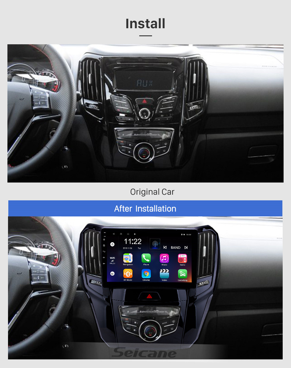 Seicane 10.1 pulgadas Android 10.0 HD Pantalla táctil Navegación GPS Radio para 2014 2015 Great Wall M4 con Bluetooth USB WIFI AUX support Carplay TPMS Mirror Link