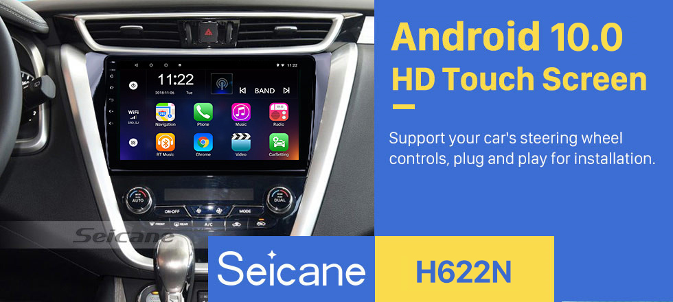 Seicane 10.1 inch HD 1024*600 Touchscreen 2015 2016 2017 Nissan Murano Android 10.0 GPS Navigation System With OBDII Rear Camera AUX Steering Wheel Control USB 1080P 3G WiFi Capacitive Mirror Link TPMS DVR Bluetooth