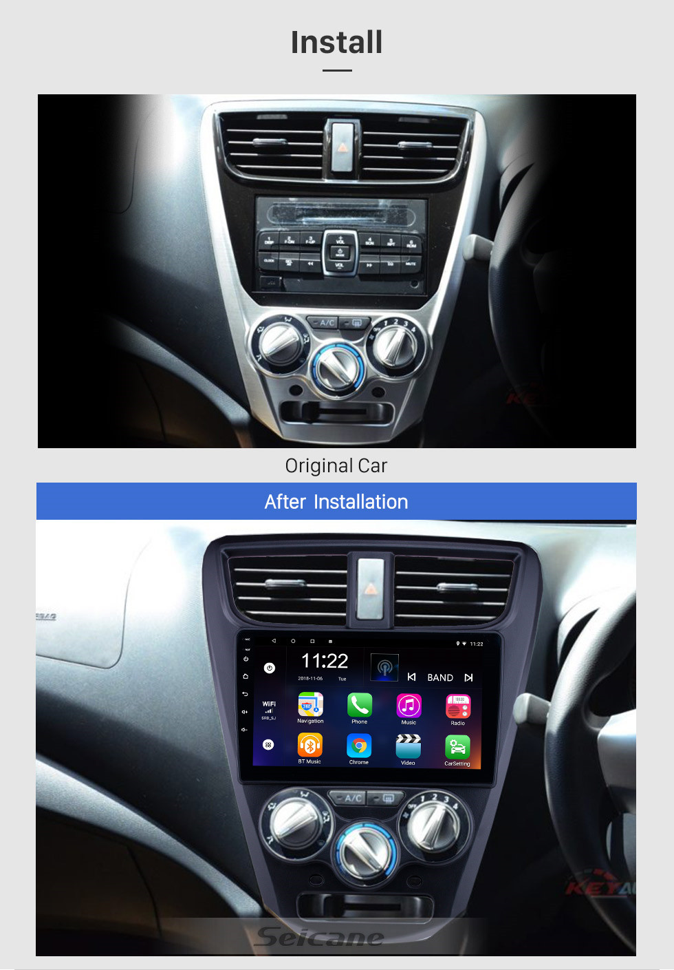 Seicane OEM 9 inch Android 10.0 Radio for 2015 Perodua Axia Bluetooth WIFI HD Touchscreen GPS Navigation support Carplay DVR OBD Rearview camera