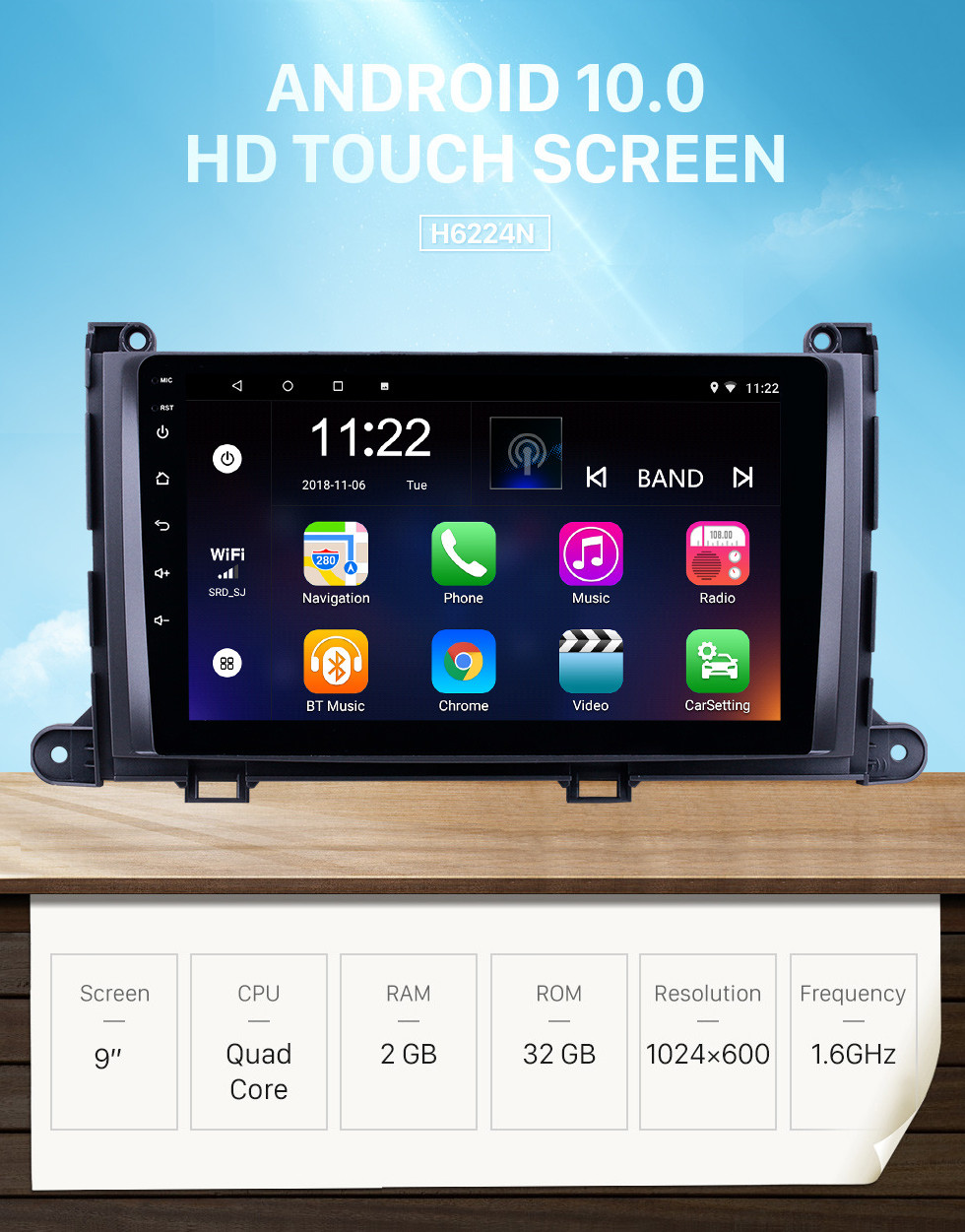 Seicane HD Touchscreen 9 inch Android 10.0 GPS Navigation Radio for 2009-2014 Toyota Sienna with Bluetooth AUX Music support DVR Carplay Steering Wheel Control
