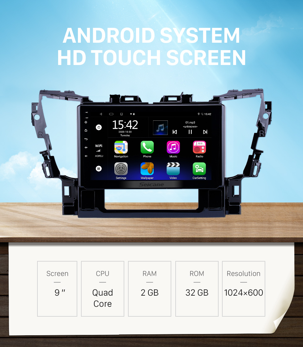 Seicane 10.1 inch Android 10.0 HD Touchscreen GPS Navigation Radio for 2015 2016 Toyota Alphard with Bluetooth USB WIFI AUX support Carplay SWC TPMS OBD
