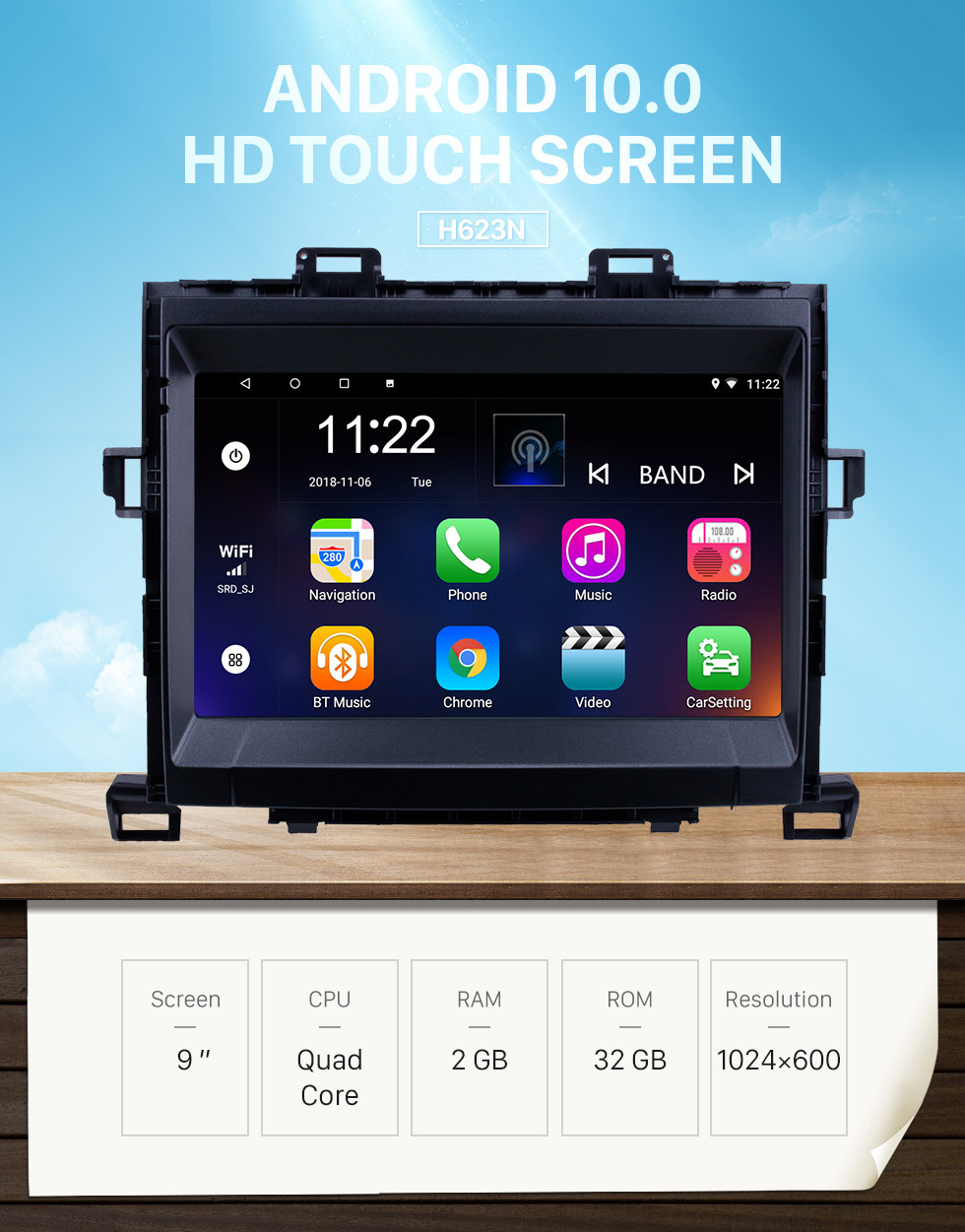 Seicane 8 Inch 2009-2014 Toyota ALPHARD/Vellfire ANH20 Android 10.0 Radio GPS Navigation system with 3G WiFi Capacitive Touch Screen TPMS DVR OBD II Rear camera AUX Steering Wheel Control USB Bluetooth HD 1080P Video