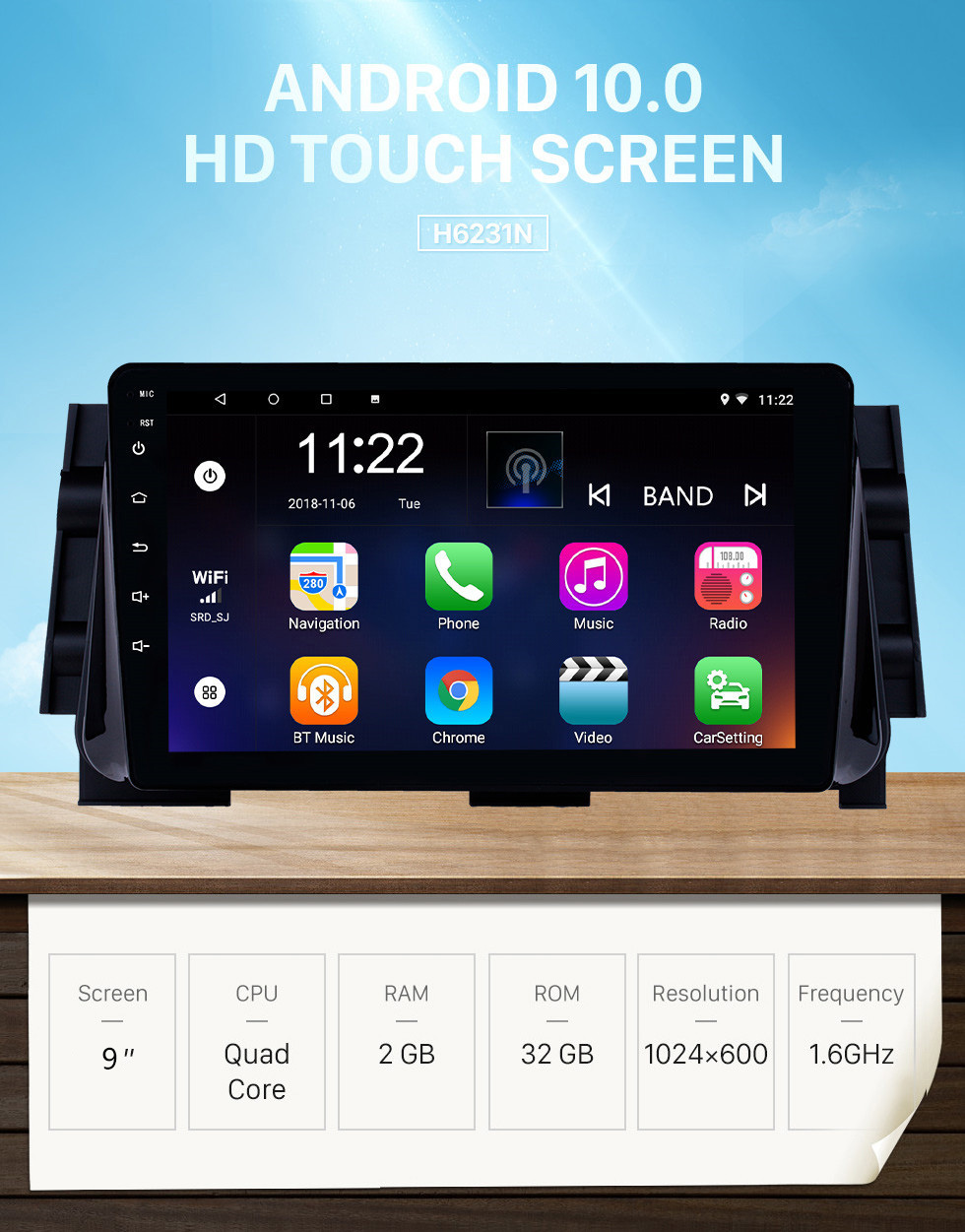 Seicane Android 10.0 9 inch HD Touchscreen GPS Navigation Radio for 2017 Nissan Micra with Bluetooth USB WIFI AUX support Backup camera Carplay SWC OBD
