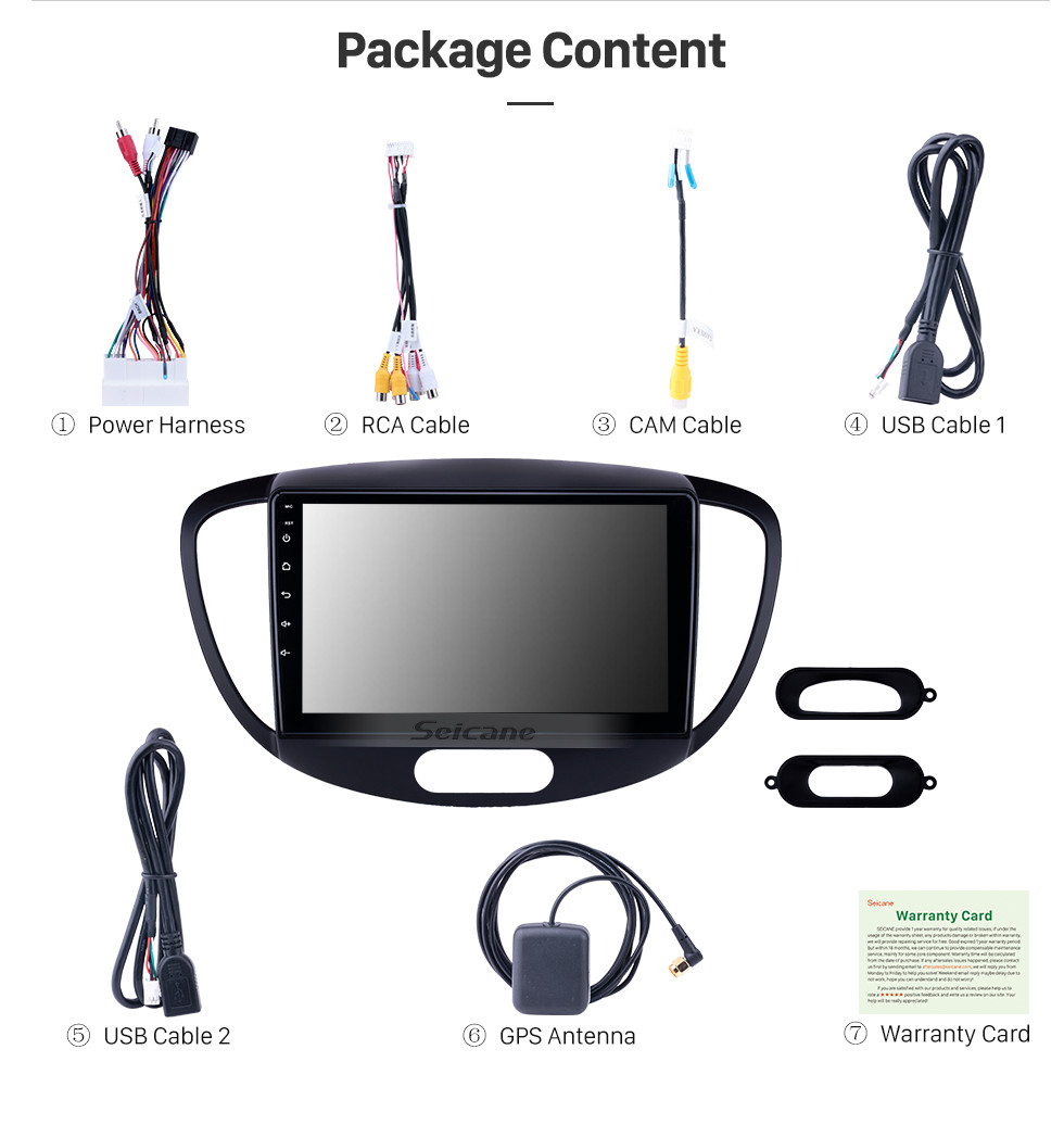 Seicane HD Touchscreen 9 inch Android 10.0 GPS Navigation Radio for 2010-2013 Old Hyundai i20 with Bluetooth AUX support Carplay Steering Wheel Control