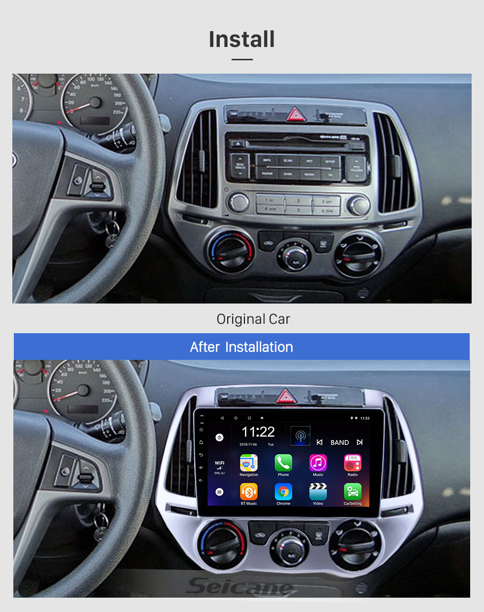 Seicane Android 10.0 9 inch HD Touchscreen GPS Navigation Radio for 2012-2014 Hyundai i20 Manual A/C with Bluetooth USB WIFI support Backup camera Carplay OBD