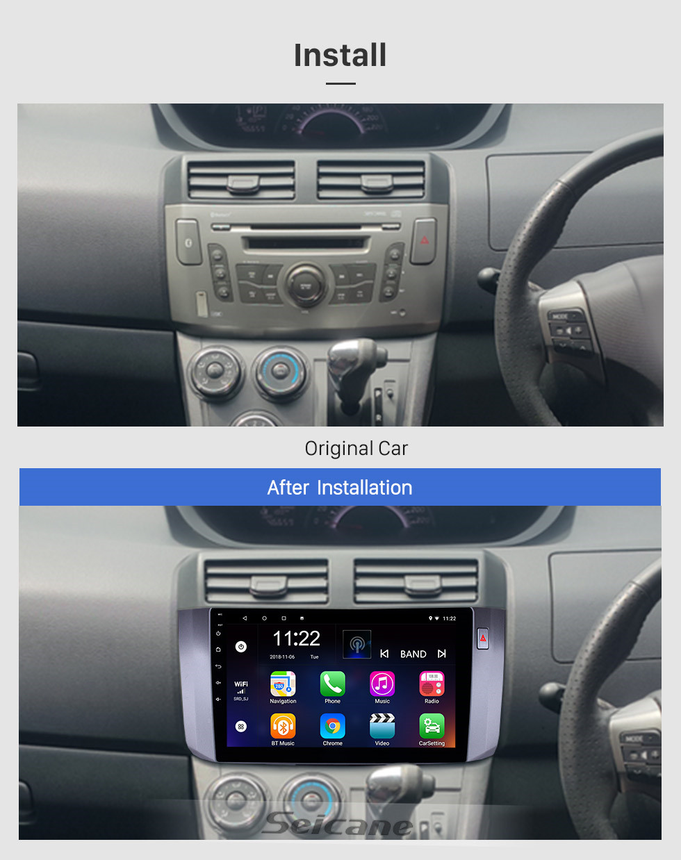 Seicane 2010-2017 Toyota ALZA Android 10.0 Touchscreen 10.1 inch Head Unit Bluetooth GPS Navigation Radio with AUX support OBD2 DVR SWC Carplay