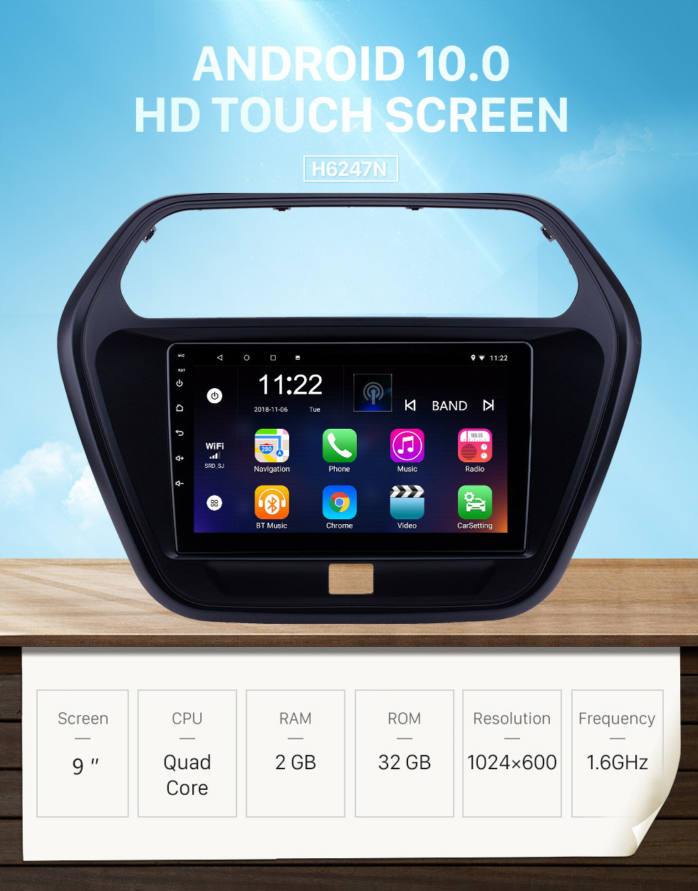 Seicane 2015 Mahindra TUV300 Android 10.0 Touchscreen 9 inch Head Unit Bluetooth GPS Navigation Radio with AUX WIFI support OBD2 DVR SWC Carplay