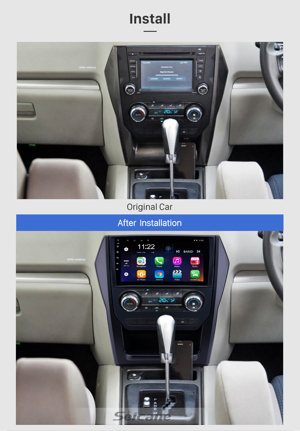 Seicane OEM 9 inch Android 10.0 Radio for 2015 Mahindra Scorpio Auto A/C Bluetooth WIFI HD Touchscreen GPS Navigation support Carplay DVR Rearview camera