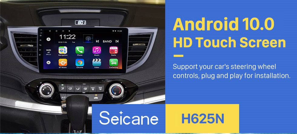 Seicane Android 10.0 10.1 inch 2011-2015 Honda CRV HD 1024*600 Touchscreen Radio GPS Navigation system with Bluetooth DVR WIFI Mirror Link 1080P Steering Wheel Control