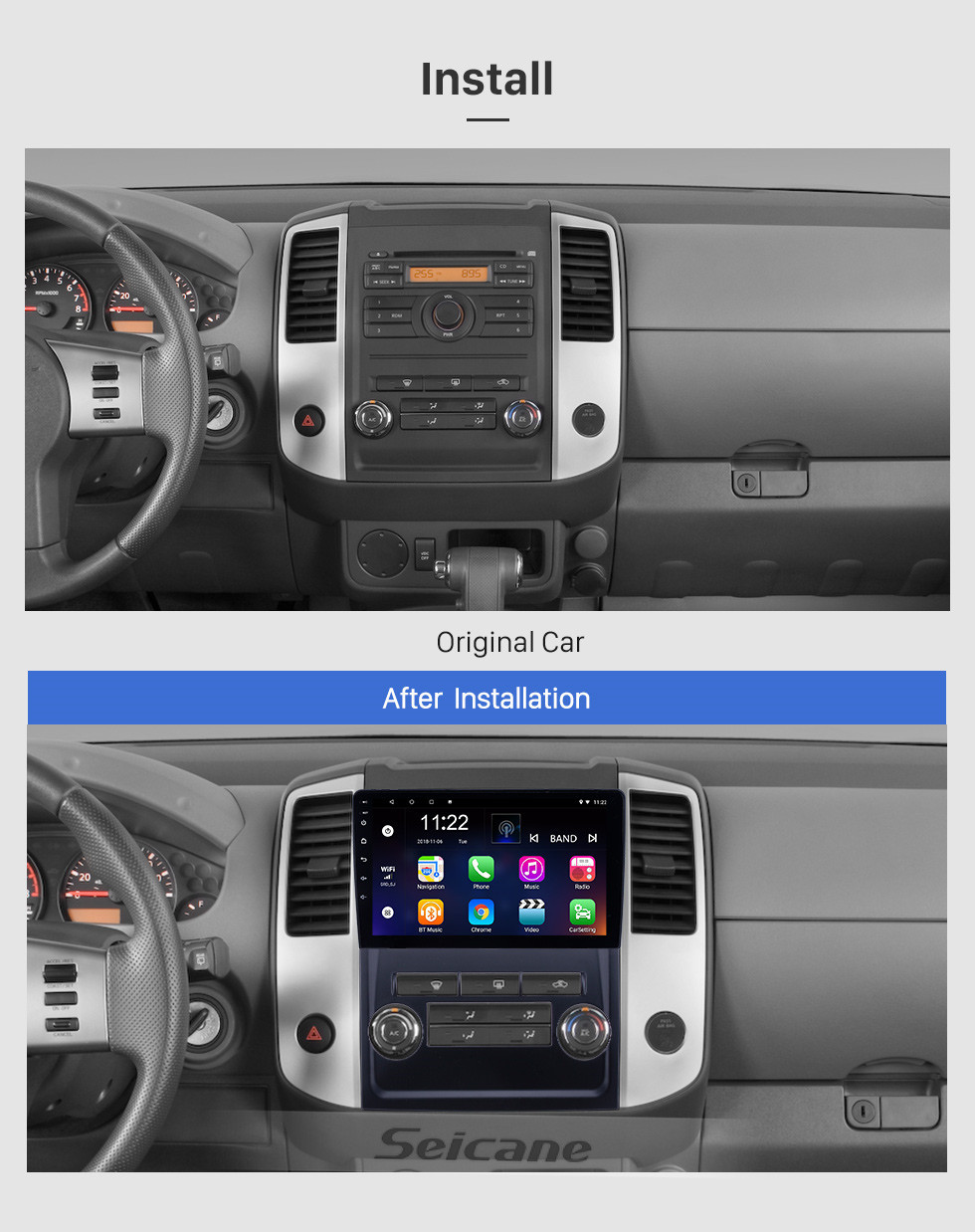 Seicane OEM 9 inch Android 10.0 Radio for 2009-2012 Nissan Frontier/Xterra Bluetooth WIFI HD Touchscreen GPS Navigation support Carplay DVR Rear camera
