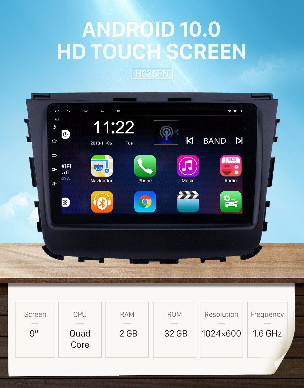 Seicane 2018 Ssang Yong Rexton 9 inch Android 10.0 HD Touchscreen Bluetooth GPS Navigation Radio USB AUX support Carplay WIFI Backup camera