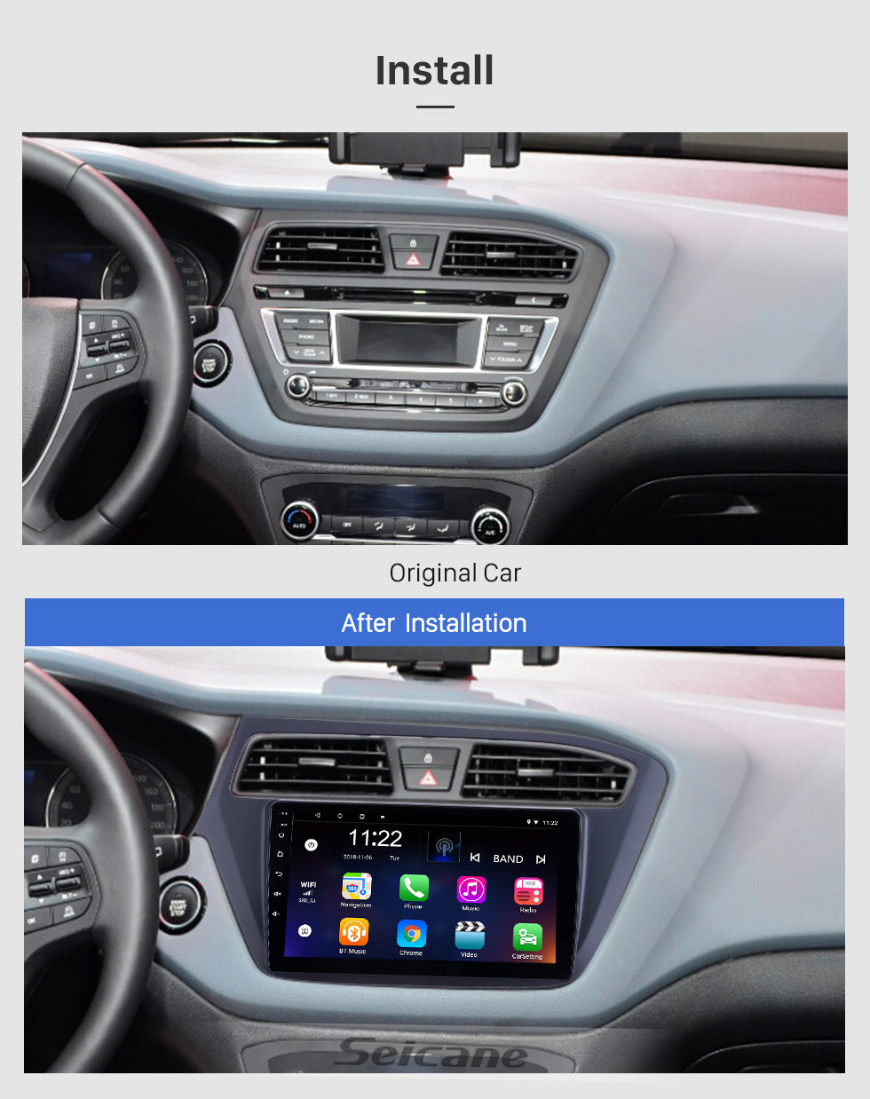 Seicane 2018-2019 Hyundai i20 LHD Android 10.0 Touchscreen 9 inch Head Unit Bluetooth GPS Navigation Radio with AUX WIFI support OBD2 DVR SWC Carplay