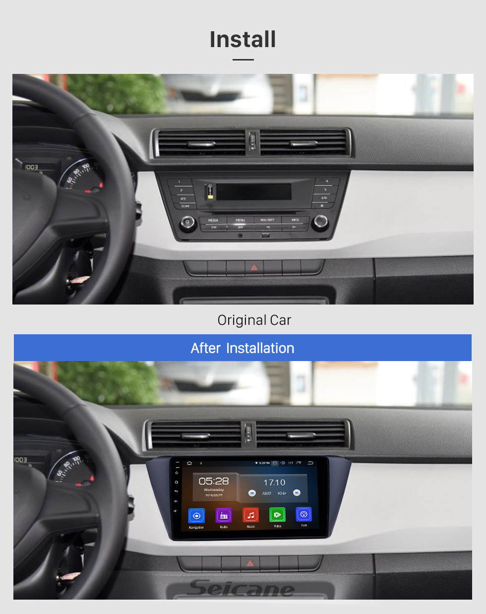 Seicane 9 inch Android 10.0 GPS Navigation Radio for 2015-2018 Skoda New Fabia with HD Touchscreen Bluetooth USB WIFI AUX support Carplay SWC TPMS