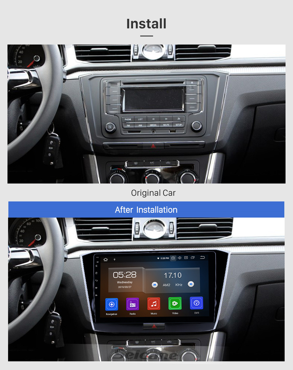 Seicane 10,1 pouces Android 10.0 Radio de navigation GPS pour 2016-2018 VW Volkswagen Passat avec support tactile HD Bluetooth USB Carplay TPMS