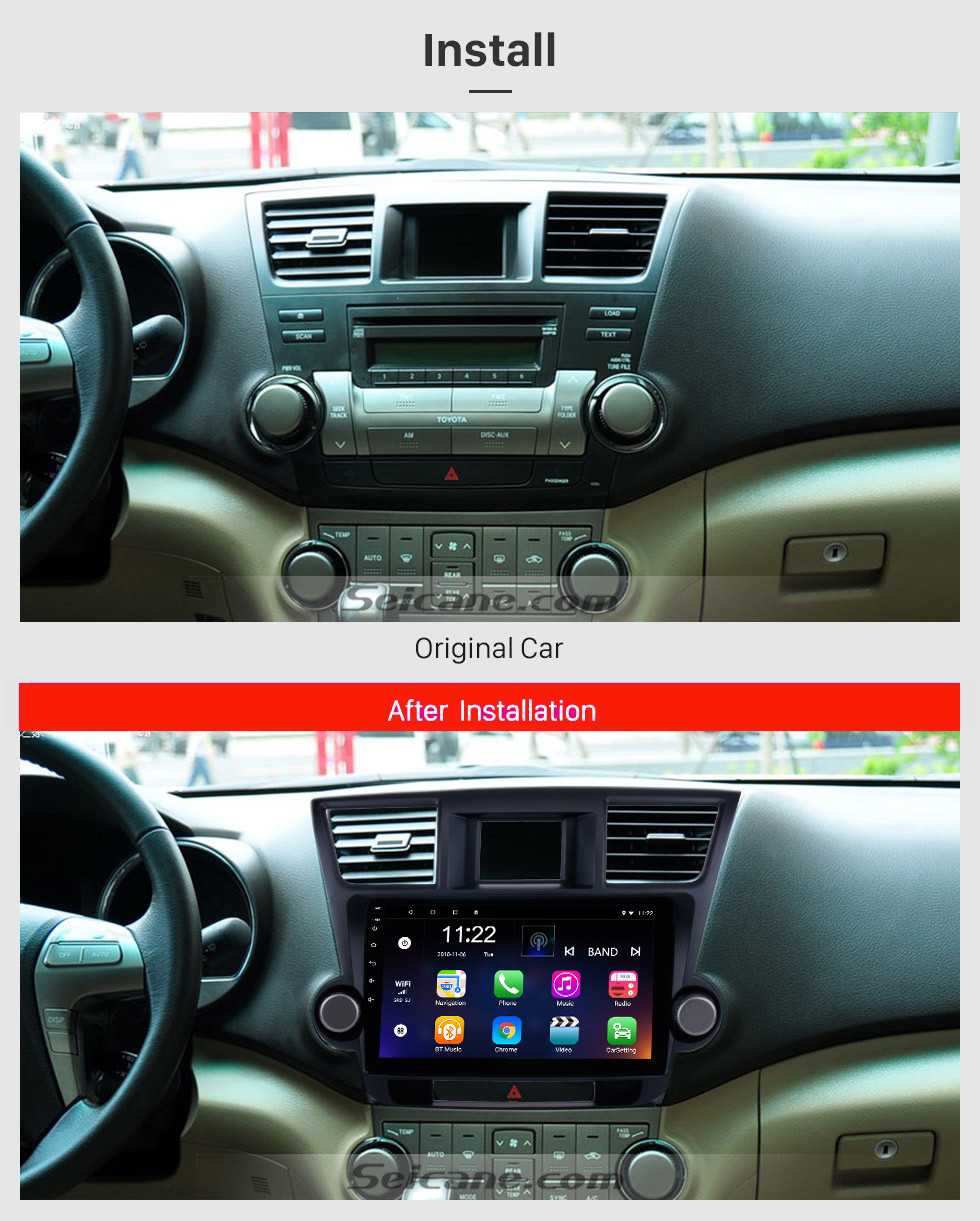 Seicane 10.1 inch Android 10.0 In Dash Bluetooth GPS Navigation System for 2014 2015 Toyota Highlander with HD 1024*600 Touch Screen 3G WiFi Radio RDS Mirror Link OBD2 Rearview Camera AUX USB SD Steering Wheel Control