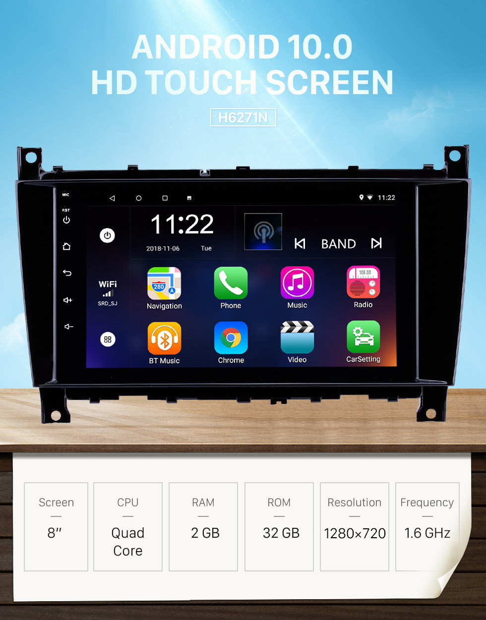 Seicane 8 inch Android 10.0 GPS Navigation Radio for 2005-2007 Mercedes-Benz G Class W467 G550 G500 G400 G320 G270 G55 with Bluetooth HD Touchscreen support Carplay DVR OBD