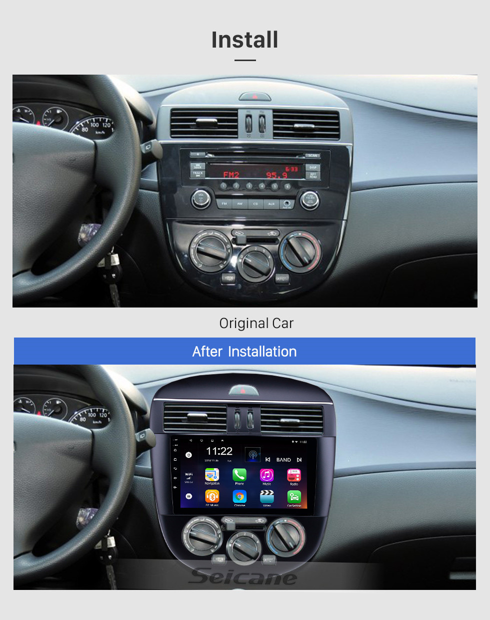 Seicane 9 inch Android 10.0 2011-2014 Nissan Tiida Manual A/C GPS Navigation Radio with Bluetooth HD Touchscreen WIFI Music support Carplay Digital TV
