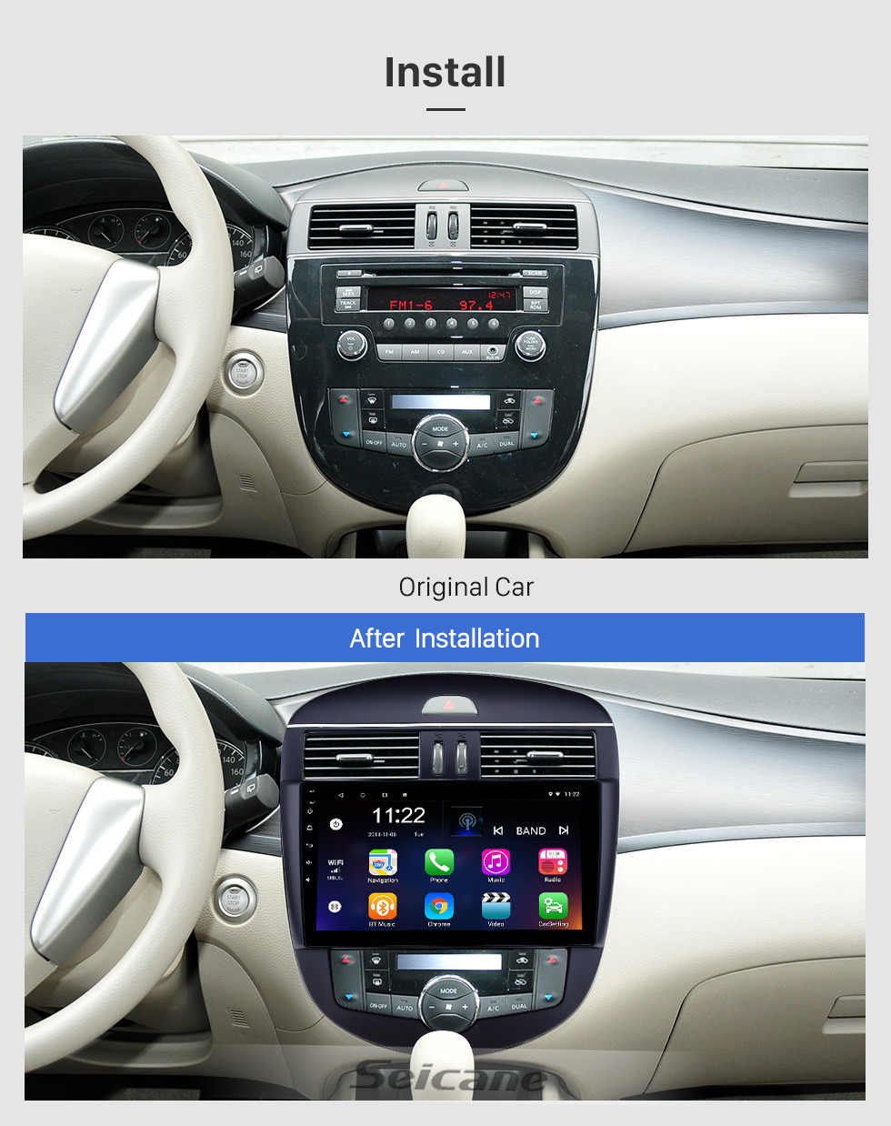 Seicane 10,1-дюймовый Android 10.0 Радио для 2011-2014 Nissan Tiida Авто A / C Bluetooth WIFI HD Сенсорный экран GPS Поддержка навигации Carplay Задняя камера