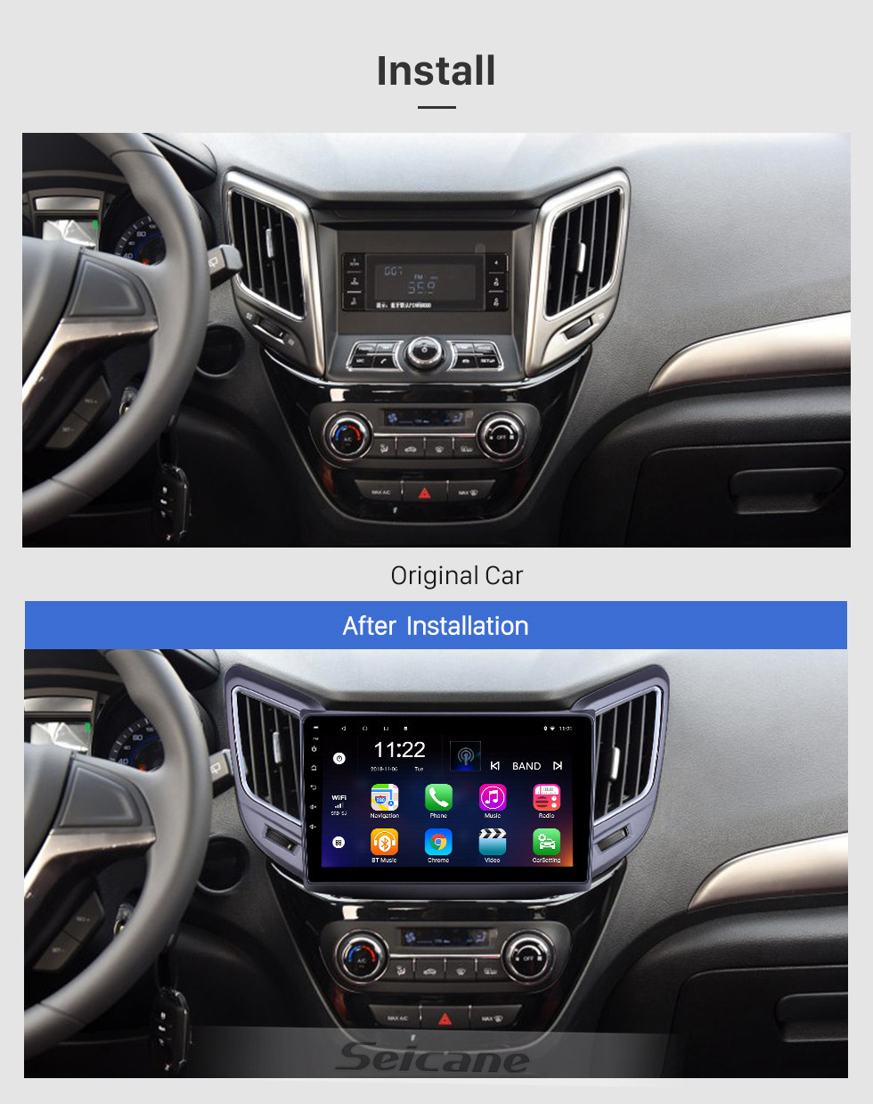 Seicane 9 inch Android 10.0 GPS Navigation Radio for 2016-2019 Changan CS15 with Bluetooth WiFi HD Touchscreen support Carplay DVR OBD