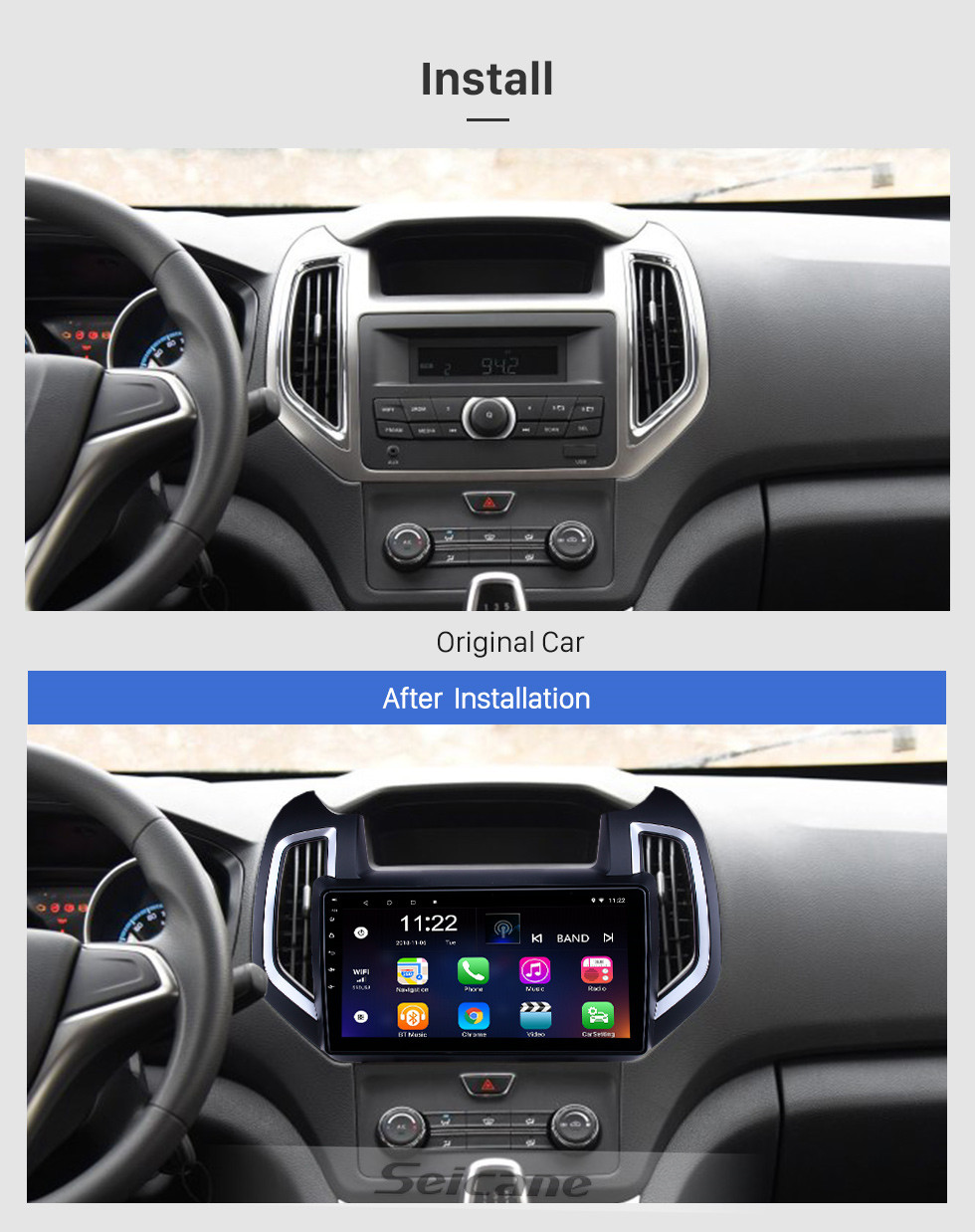 Seicane 10.1 inch Android 10.0 GPS Navigation Radio for 2017-2019 Changan Ruixing with HD Touchscreen Bluetooth USB AUX support Carplay SWC TPMS