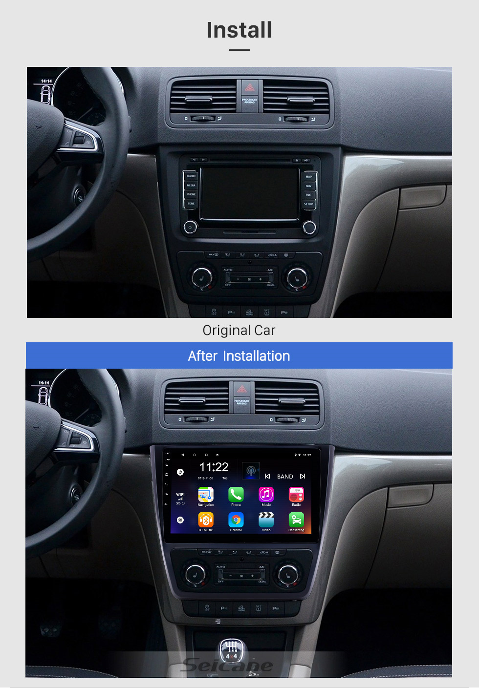 Seicane 10,1 pouces Android 10.0 HD Radio tactile Navigation GPS pour 2014-2018 Skoda Yeti avec Bluetooth AUX support Carplay Mirror Link