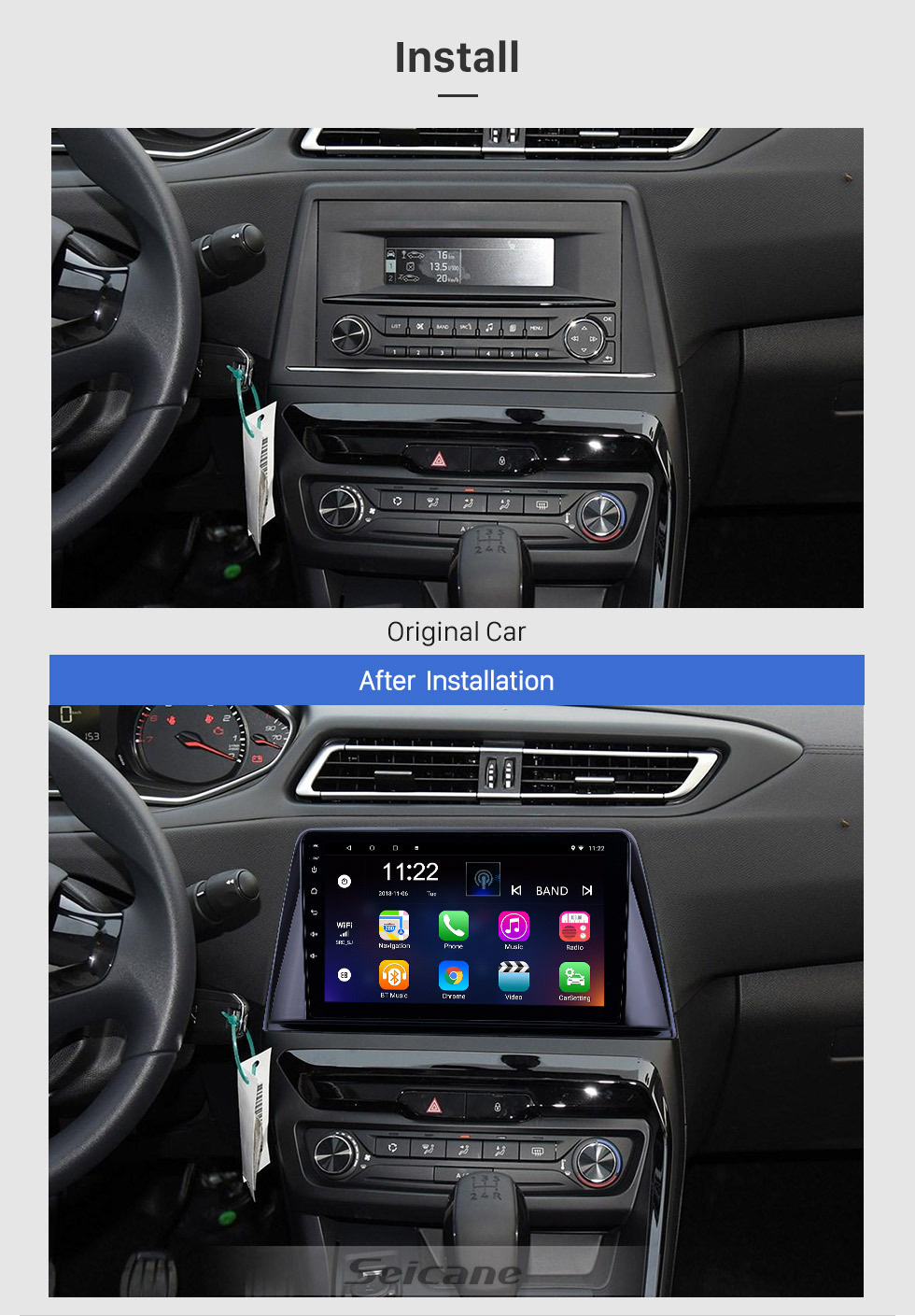 Seicane HD Touchscreen 9 inch Android 10.0 GPS Navigation Radio for 2016-2018 Peugeot 308 with Bluetooth AUX support Carplay Steering Wheel Control