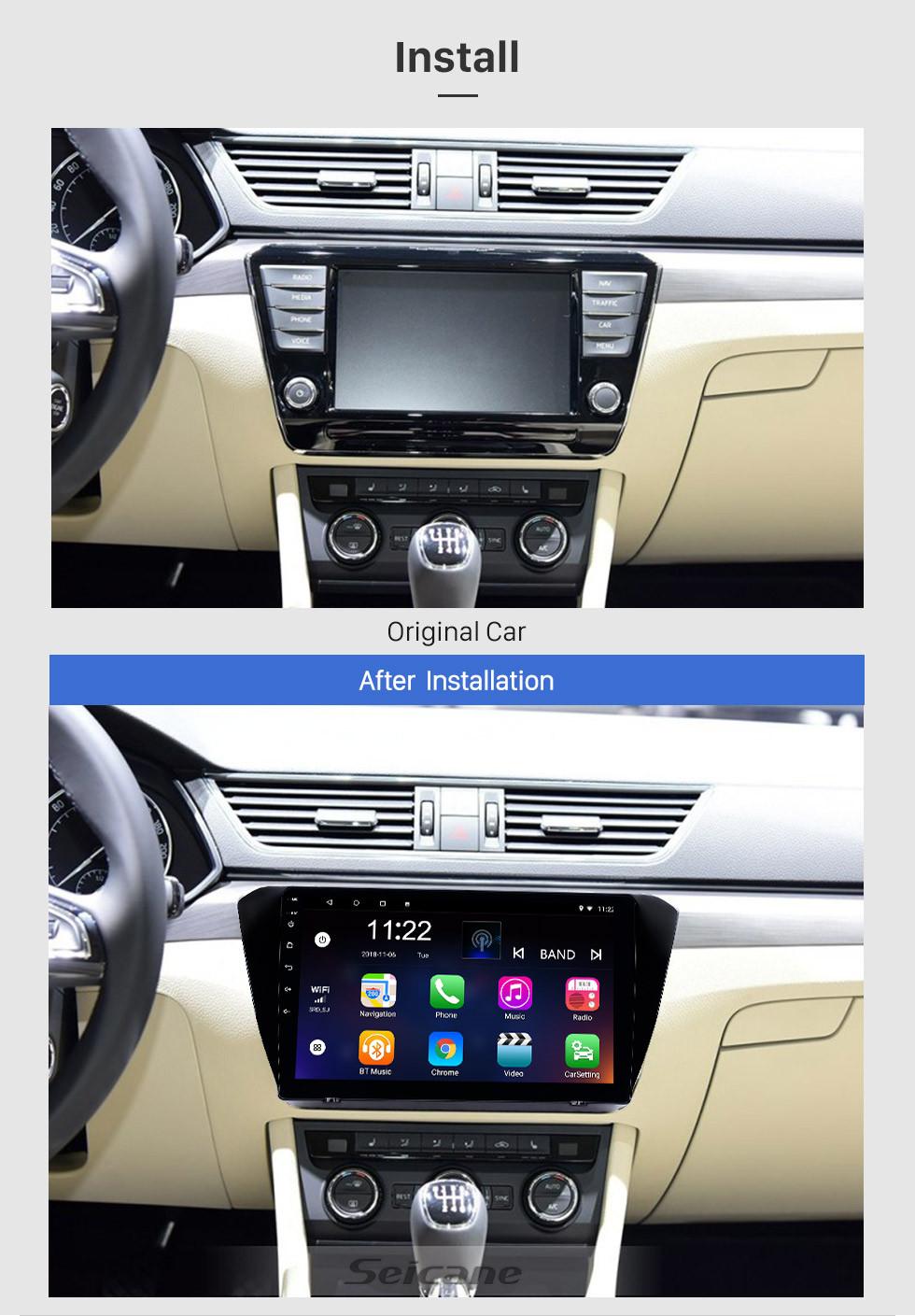 Seicane 10,1 Zoll Android 10.0 GPS Navigationsradio für 2015-2018 Skoda Superb mit HD Touchscreen Bluetooth USB AUX Unterstützung Carplay TPMS