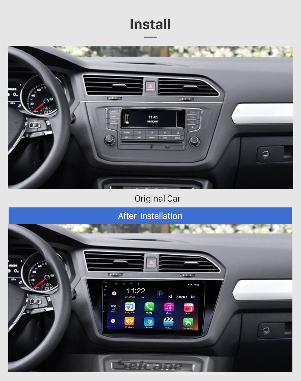 Seicane 10.1 inch Android 10.0 GPS Navigation Radio for 2016-2018 VW Volkswagen Tiguan with HD Touchscreen Bluetooth USB support Carplay TPMS