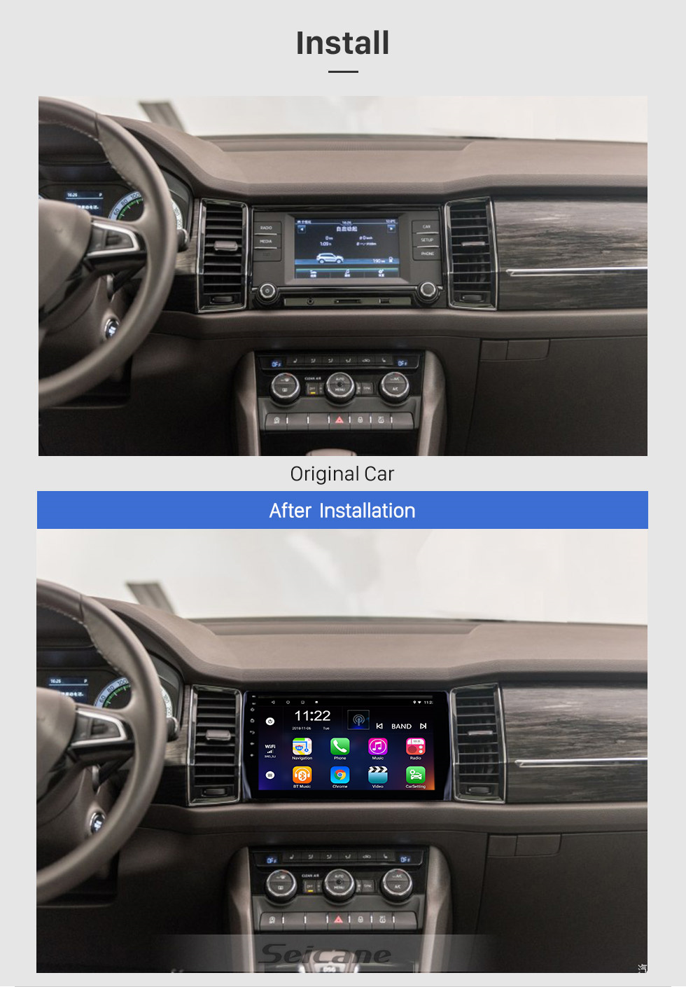 Seicane 10.1 inch Android 10.0 GPS Navigation Radio for 2017-2018 Skoda Diack with HD Touchscreen Bluetooth WIFI support Carplay Backup camera