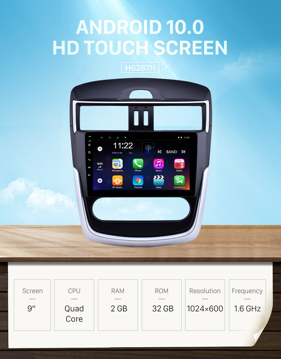 Seicane OEM 9 inch Android 10.0 Radio for 2016-2018 Nissan Tiida Bluetooth WIFI HD Touchscreen GPS Navigation support Carplay DVR Rear camera