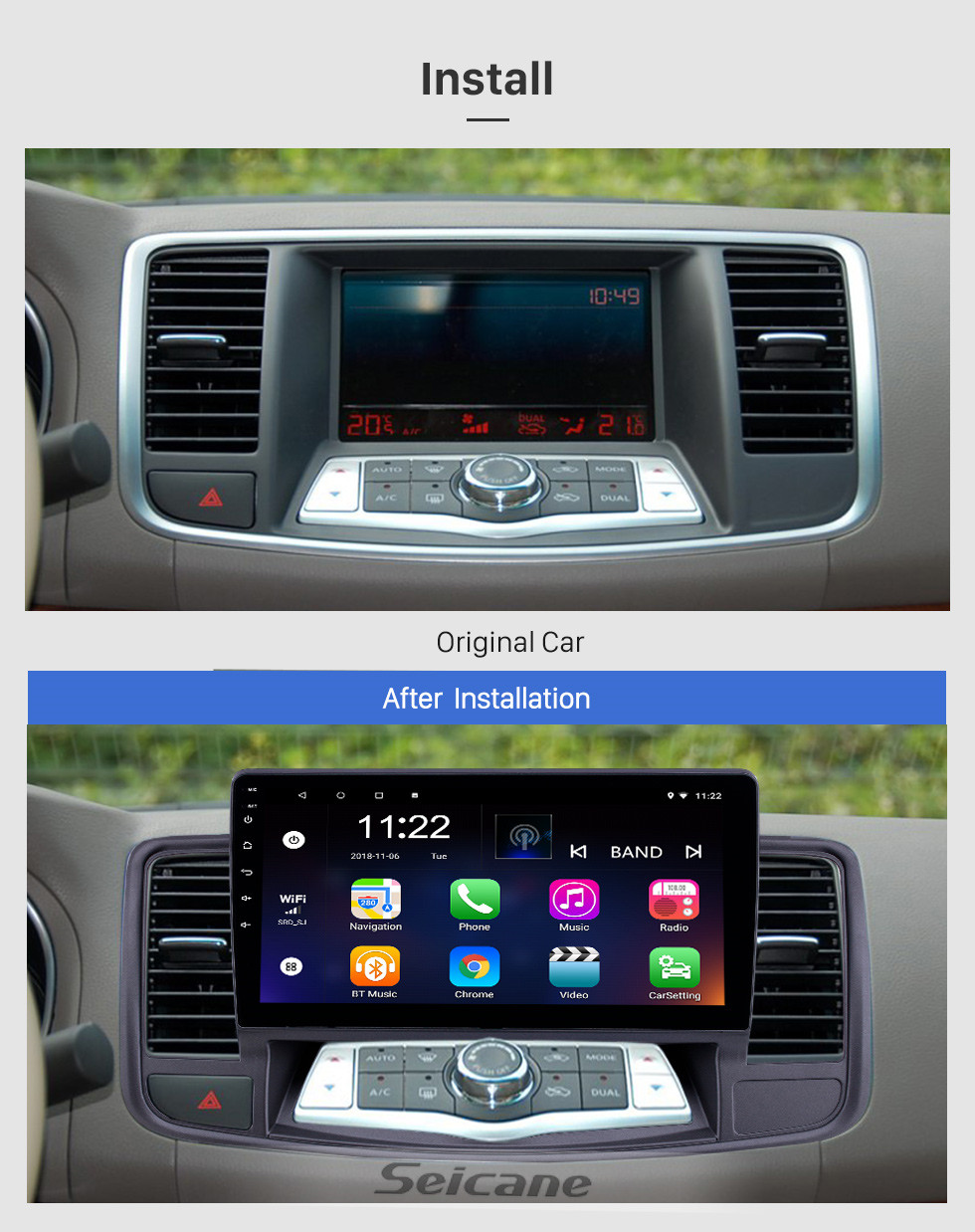 Seicane 2009-2013 Nissan Old Teana Android 10.0 Touchscreen 10.1 inch Head Unit Bluetooth GPS Navigation Radio with AUX WIFI support OBD2 DVR SWC Carplay
