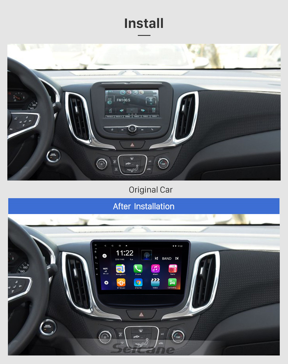 Seicane 10.1 inch Android 10.0 GPS Navigation Radio for 2016-2018 chevy Chevrolet Equinox with HD Touchscreen Bluetooth USB support Carplay TPMS