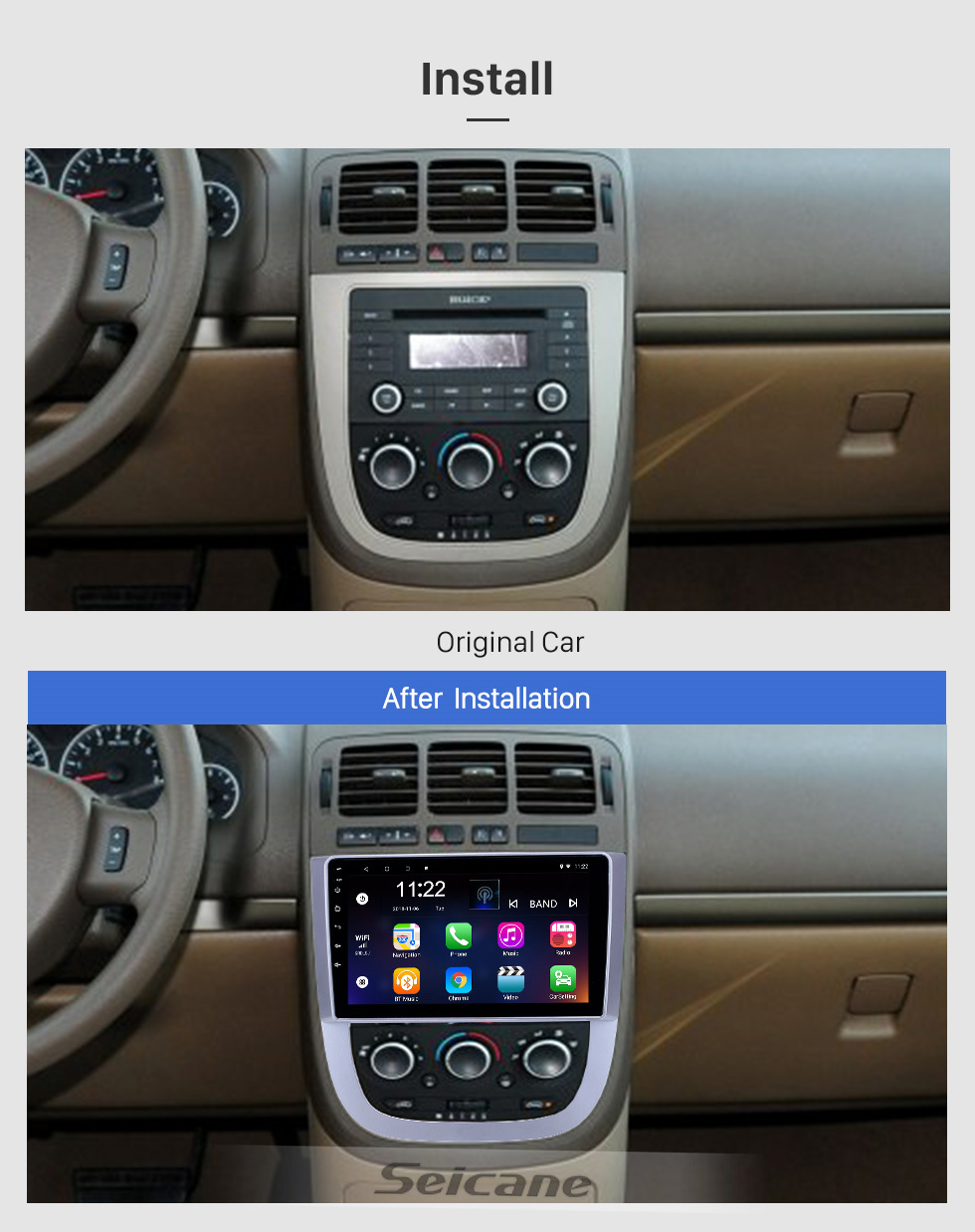 Seicane OEM 9 inch Android 10.0 Radio for 2005-2012 Buick FirstLand GL8 Bluetooth WIFI HD Touchscreen GPS Navigation support Carplay DVR Rear camera