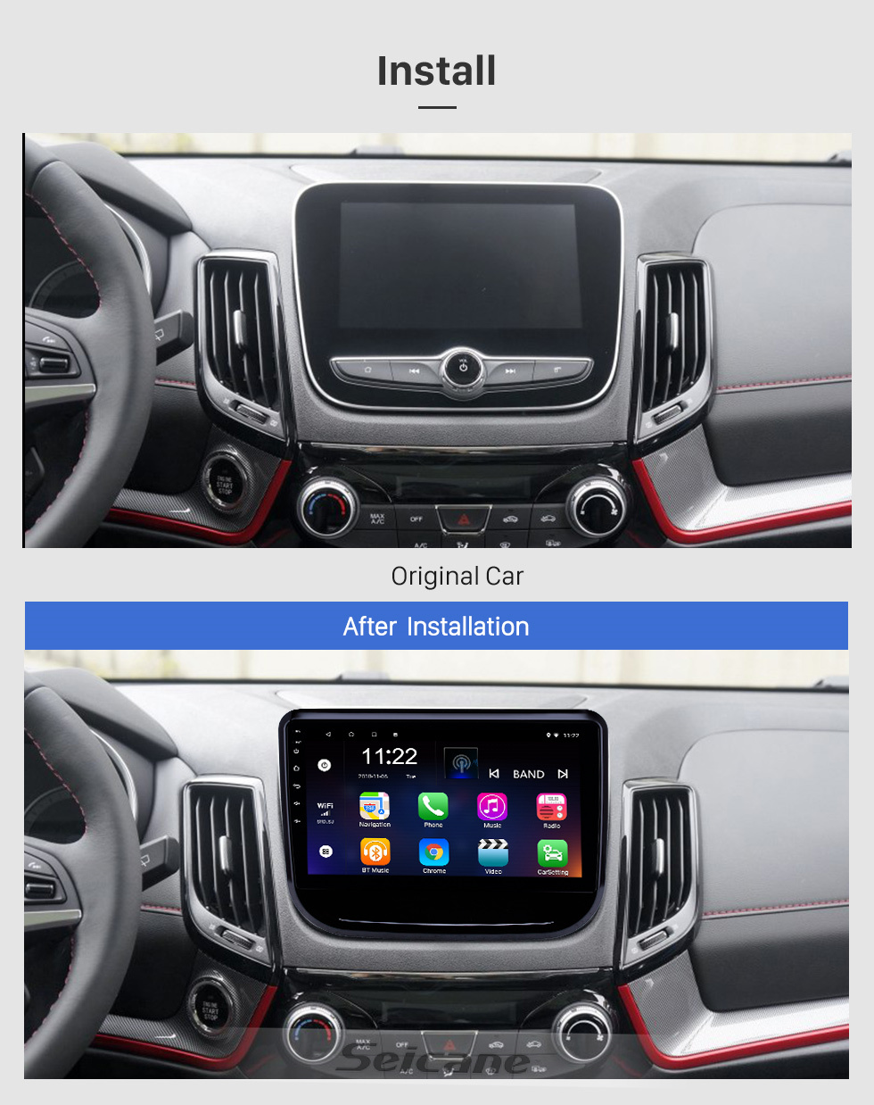 Seicane 10.1 inch Android 10.0 GPS Navigation Radio for 2017-2018 Changan CS55 with HD Touchscreen Bluetooth USB support Carplay TPMS