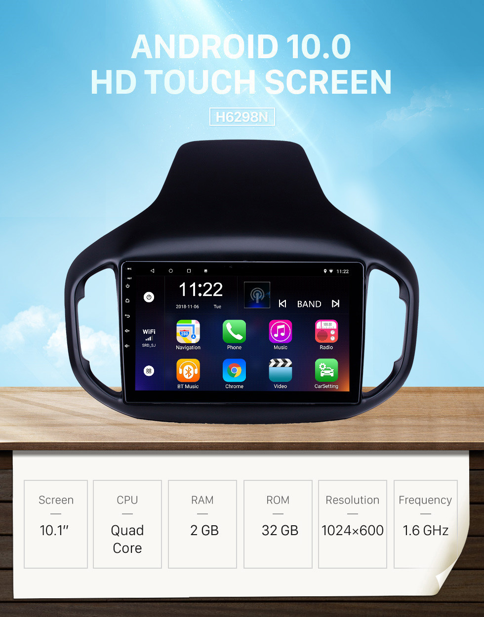 Seicane 10.1 inch Android 10.0 GPS Navigation Radio for 2016-2018 Chery Tiggo 7 with HD Touchscreen Bluetooth USB support Carplay TPMS
