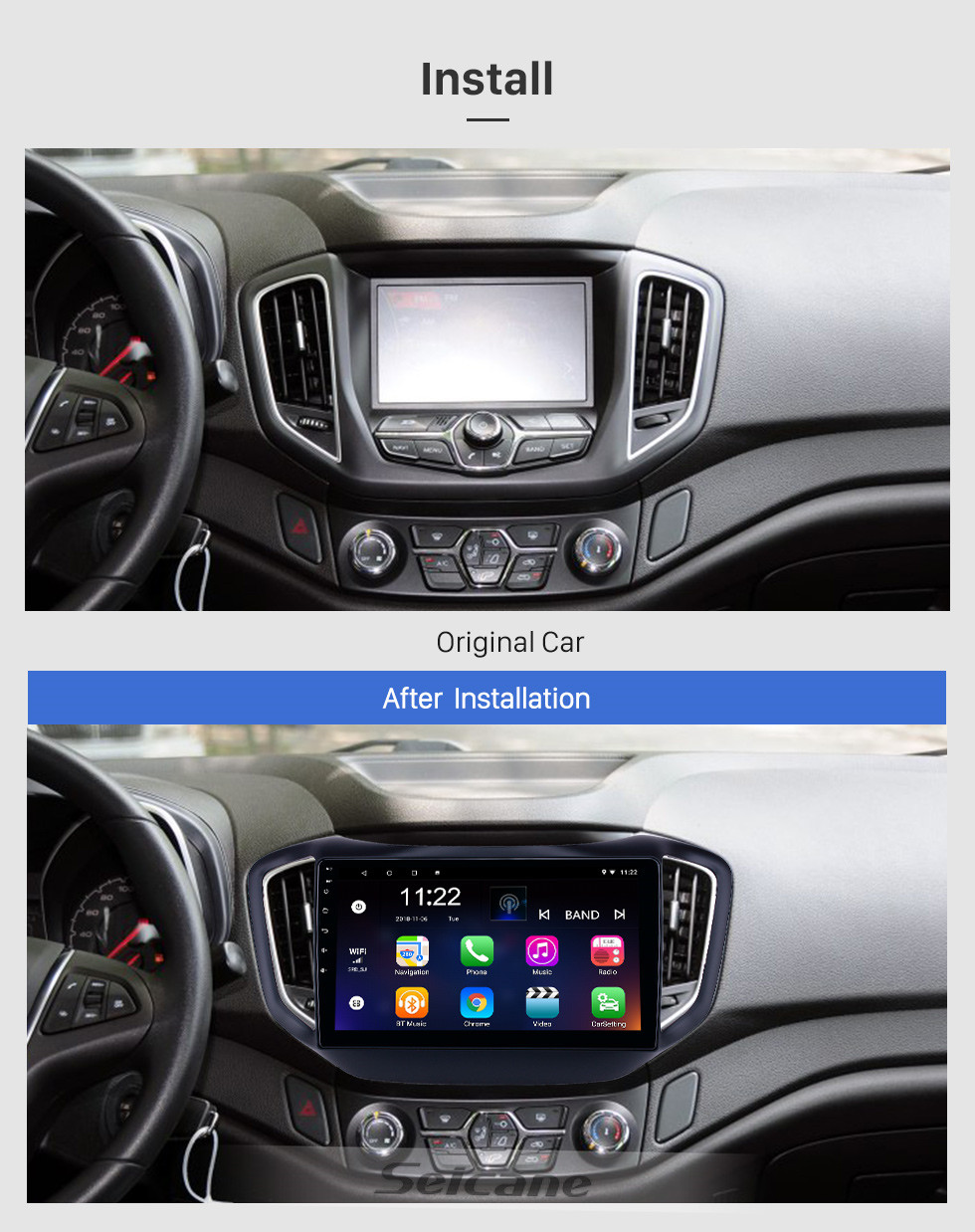 Seicane 10,1 Zoll Android 10.0 GPS-Navigationsradio für 2014-2017 Chery Tiggo 5 mit HD-Touchscreen Bluetooth WIFI-Unterstützung Carplay Backup-Kamera