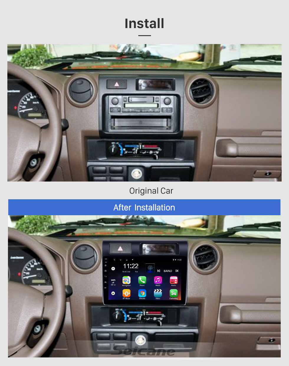 Seicane HD Touchscreen 9 inch Android 10.0 GPS Navigation Radio for 2015 Toyota Land Cruiser with Bluetooth support Carplay Steering Wheel Control
