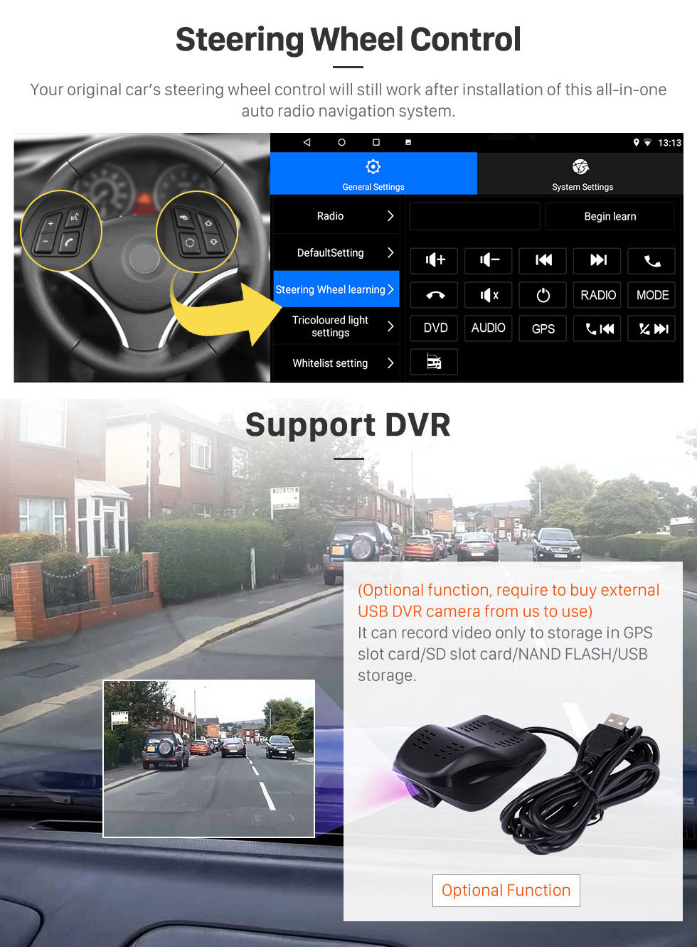 Seicane 2014-2018 Renault Duster Android 10.0 Touchscreen 9 inch Bluetooth GPS Navigation Radio with AUX support OBD2 SWC Carplay