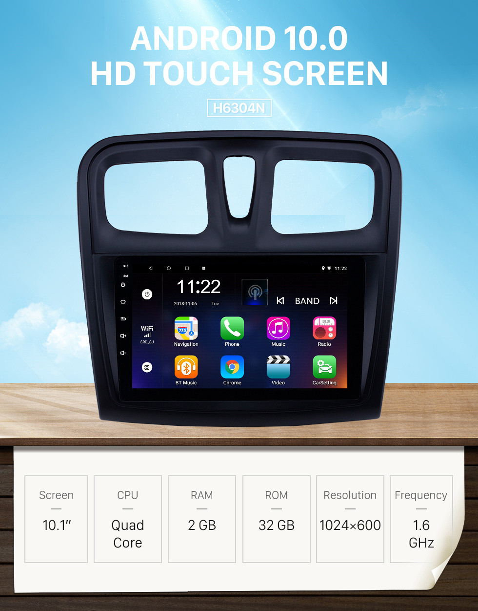 Seicane 10.1 inch Android 10.0 GPS Navigation Radio for 2012-2017 Renault Sandero with Bluetooth USB HD Touchscreen support Carplay DVR OBD