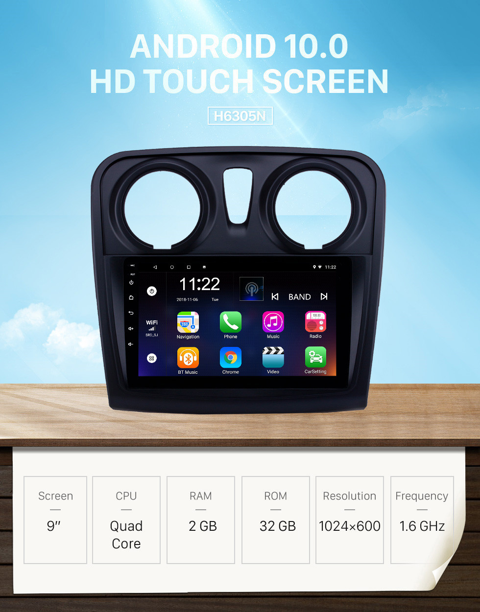 Seicane HD Touchscreen 9 inch Android 10.0 GPS Navigation Radio for 2012-2017 Renault Dacia Sandero with Bluetooth AUX support Carplay TPMS