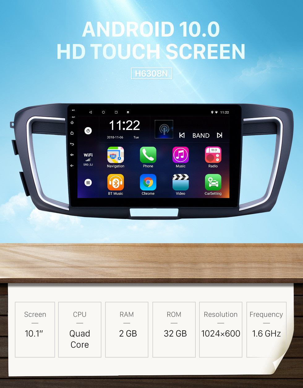 Seicane 10,1 pouces Android 10.0 Radio de navigation GPS pour 2013 Honda Accord 9 Version basse avec support tactile HD Bluetooth USB Carplay TPMS