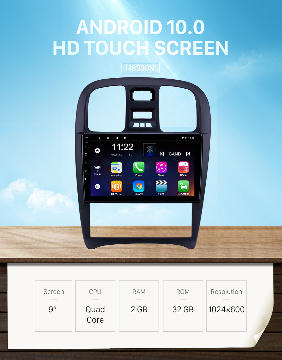 Seicane HD Touchscreen 9 inch Android 10.0 GPS Navigation Radio for 2003-2009 Hyundai Sonata with Bluetooth AUX support Carplay TPMS