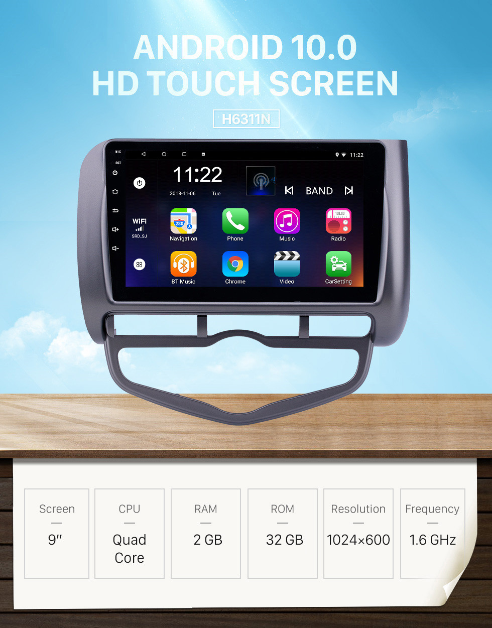 Seicane 9 inch Android 10.0 GPS Navigation Radio for 2006 Honda Jazz City Auto AC LHD with Bluetooth HD Touchscreen support Carplay DVR OBD