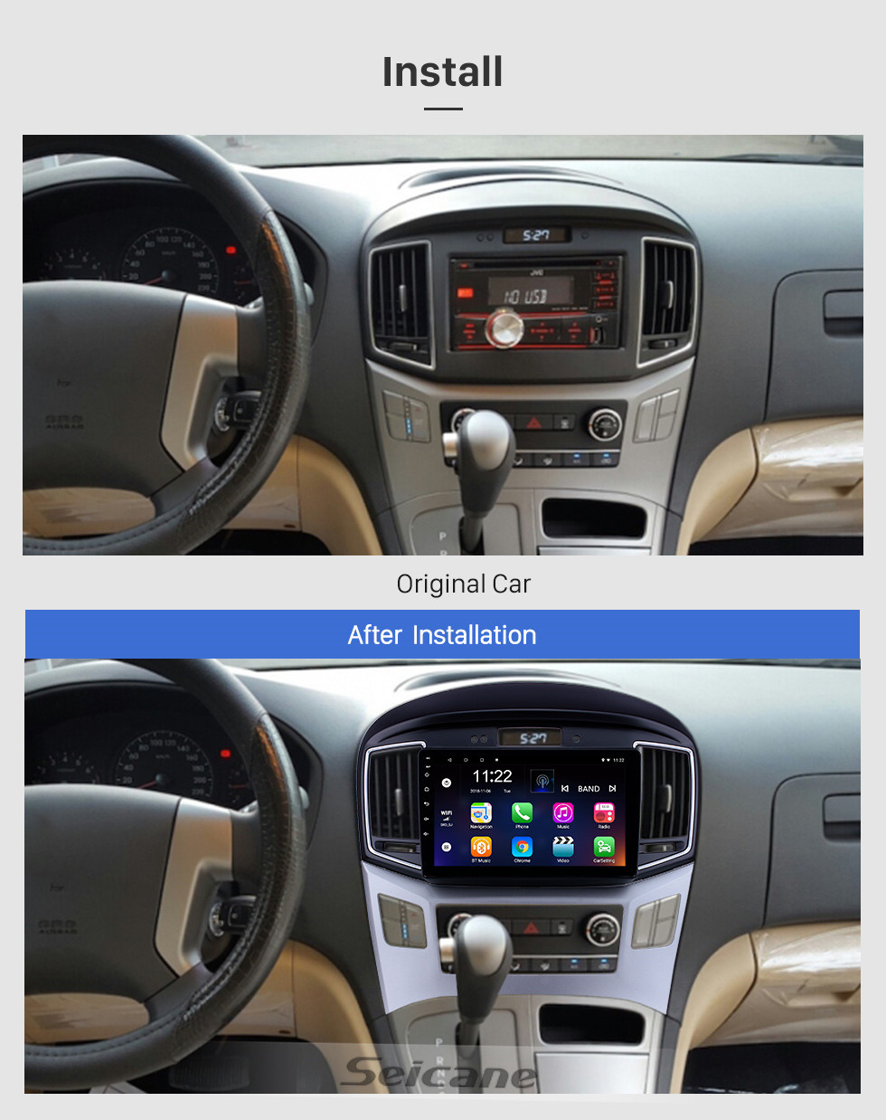 Seicane HD Touchscreen 9 inch Android 10.0 GPS Navigation Radio for 2015 Hyundai Starex H1 with Bluetooth AUX support DVR Carplay