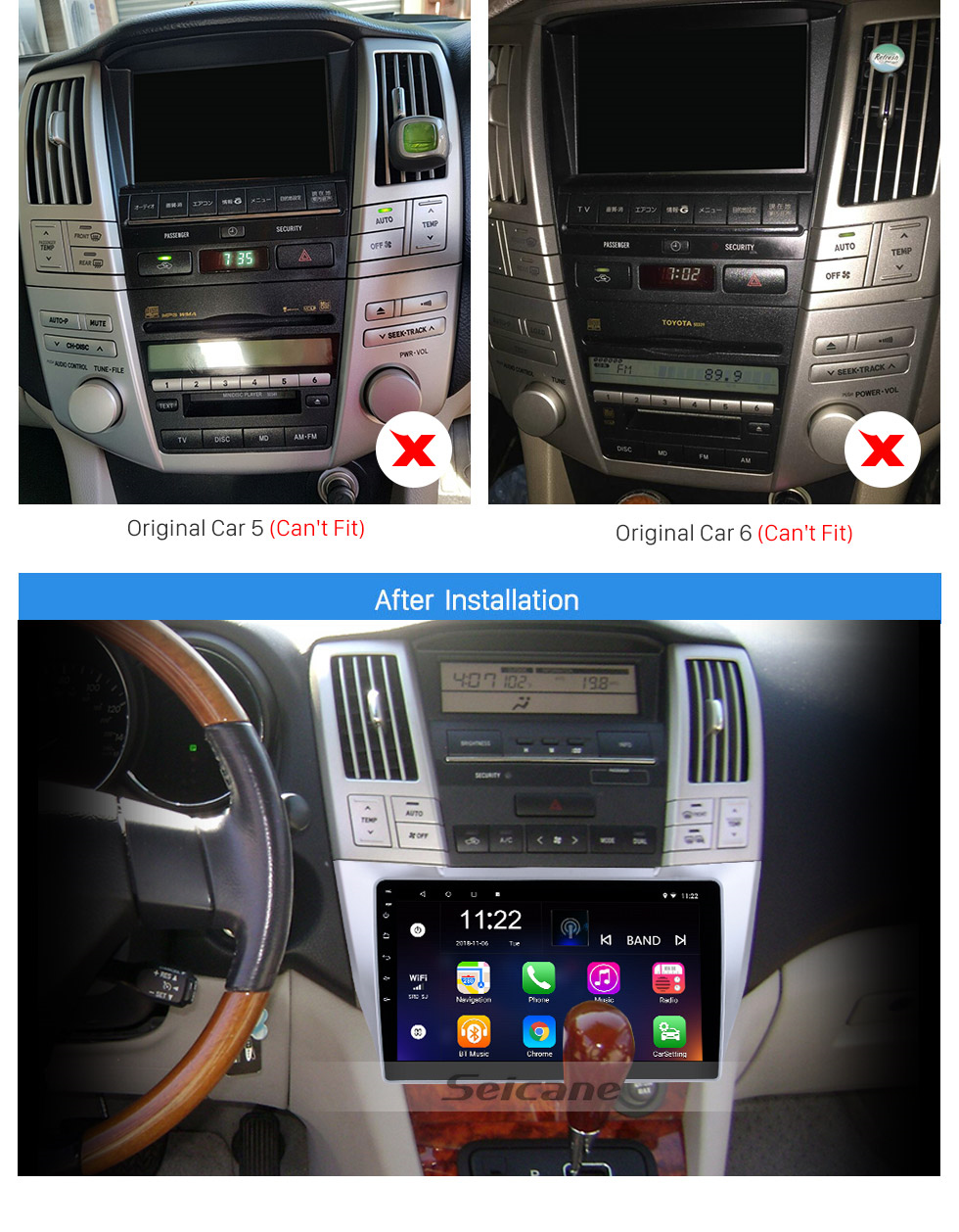 Seicane Android 10.0 10.1 inch HD Touchscreen GPS Navigation Radio for 2003-2010 Lexus RX300 RX330 RX350 with Bluetooth WIFI support Carplay SWC
