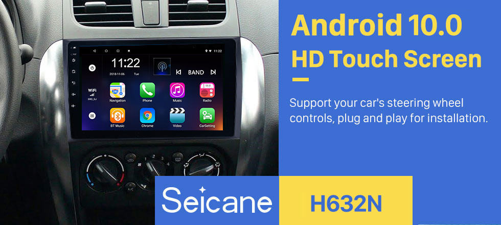 Seicane 9 inch Android 10.0 HD Touchscreen GPS Navigation Radio for 2006-2012 Suzuki SX4 with Bluetooth Music WIFI support 1080P Video OBD2 DVR