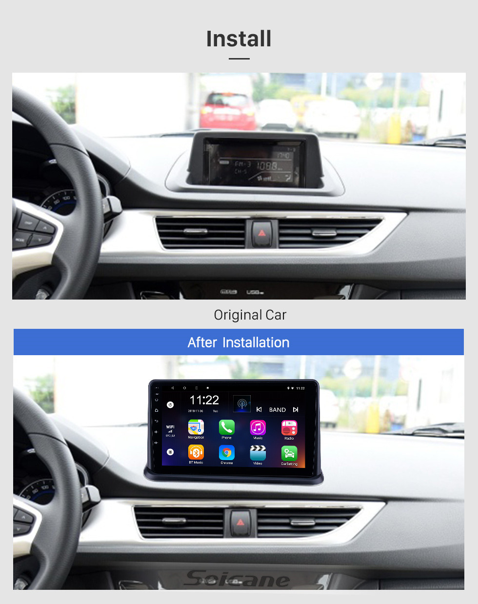 Seicane OEM 9 inch Android 10.0 Radio for 2015 Changan Alsvin V7 Bluetooth HD Touchscreen GPS Navigation support Carplay Rear camera