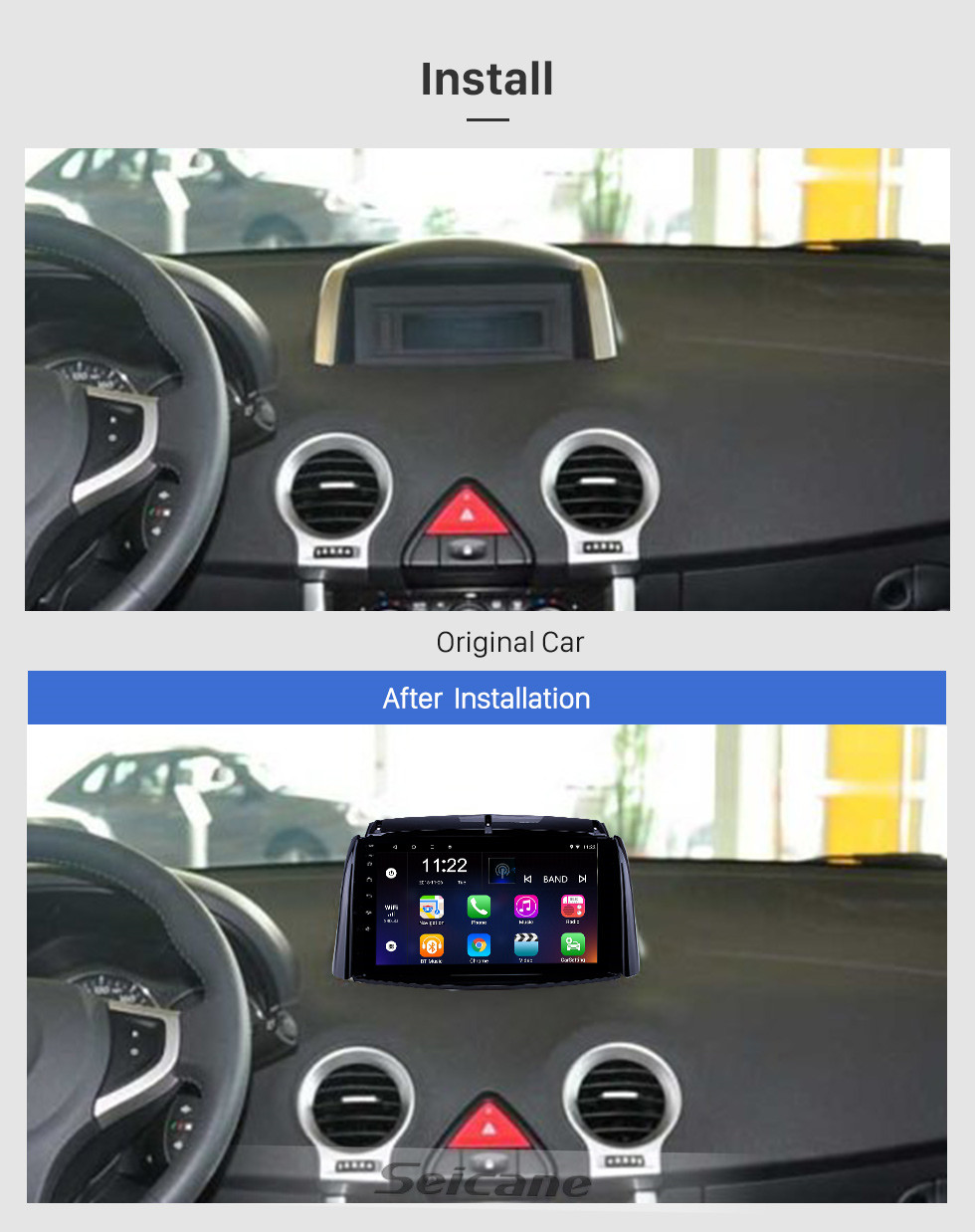 Seicane 2009-2016 Renault Koleos Android 10.0 HD Touchscreen 9 inch Head Unit Bluetooth GPS Navigation Radio with AUX support OBD2 SWC Carplay
